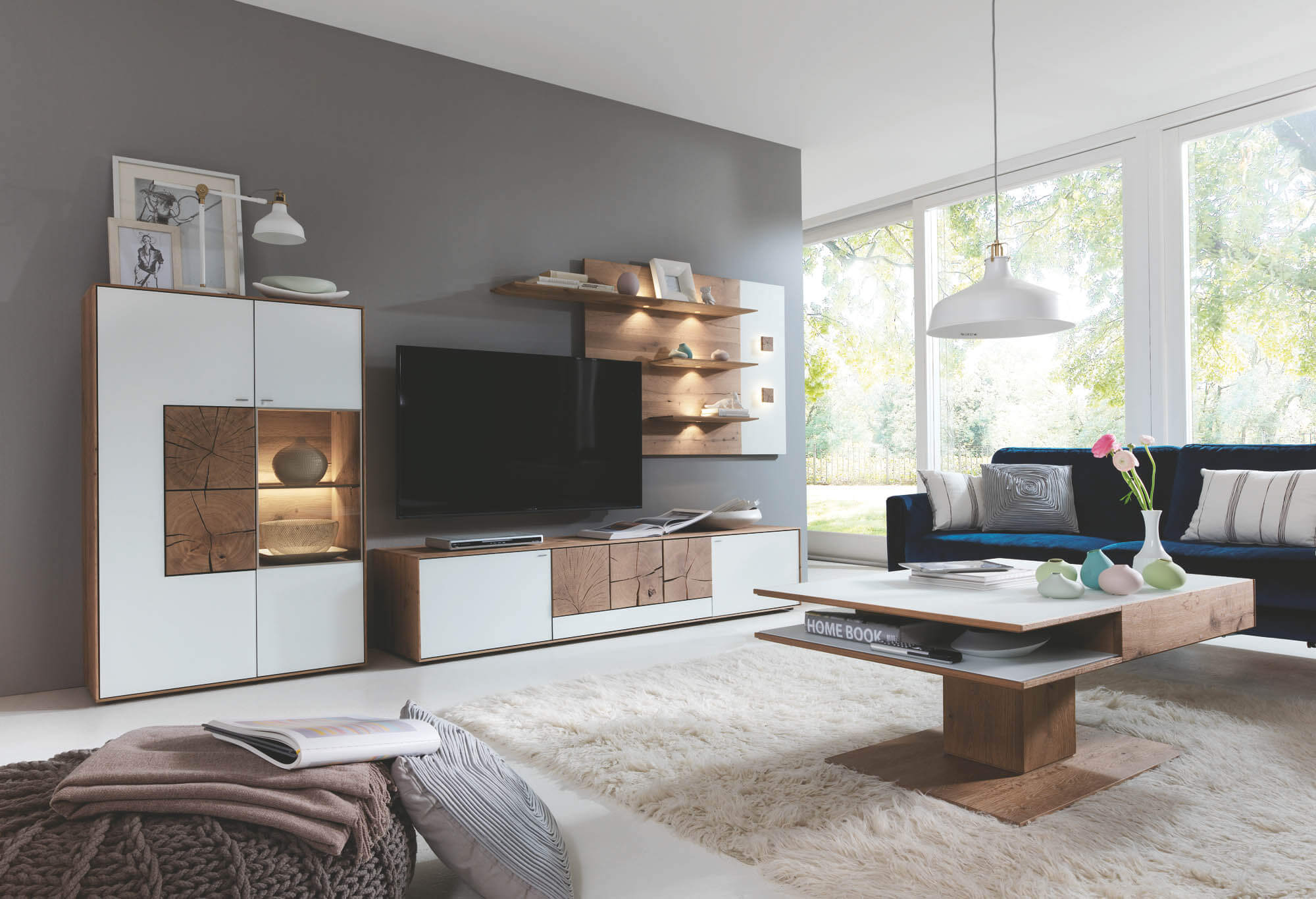 hartmann caya wohnwand 24w kerneiche wei m bel. Black Bedroom Furniture Sets. Home Design Ideas