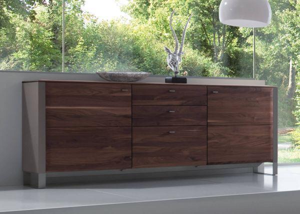 Gwinner Solid Sideboard SB7 / Lack seidenmatt fango - Nussbaum massiv