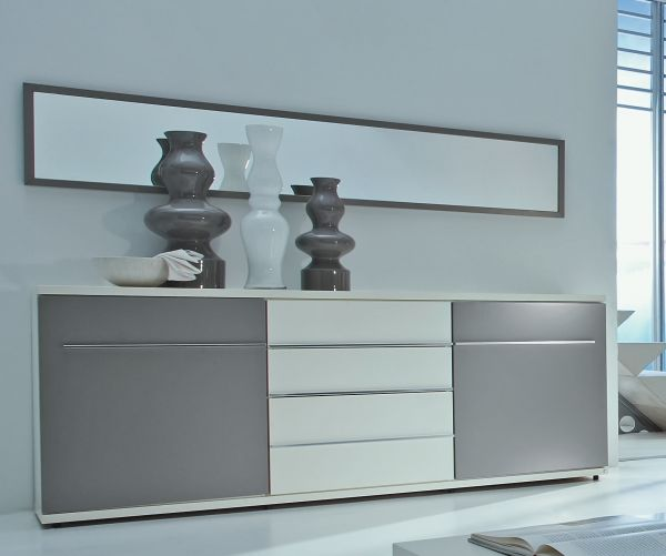 Loddenkemper Kito 7432 Sideboard Lack weiß, Lack soft grau